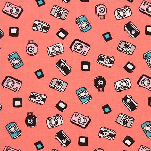 Suave Tela de linón de algodón en Rosa asalmonado con pequeñas cámaras de Fotos