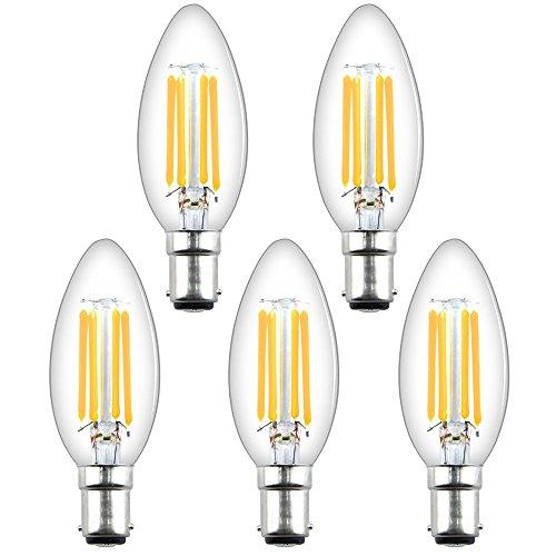 Luxvista B15 LED Kerze Glühbirne Dimmbar Kein Flackern 4W AC200-240V C35 Bajonett Sockel Warmweiß 2700K Edison vintage Retrofit Glühlampe 5-Stück (Bajonett-sockel)