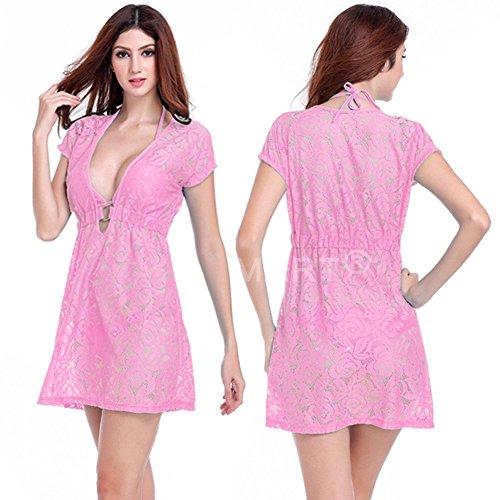 Andyshi donne sexy scollo a V profondo pizzo mesh insabbiamento Beachwear vestito Pink