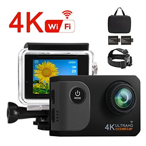 Ccbetter Action Kamera,WIFI Action Cam 4K Sports Cam 20MP Kamera Ultra Full HD Unterwasserkamera Helmkamera wasserdicht 170 Grad Weitwinkel mit 2 verbesserten Batterien Transporttasche und kostenlose
