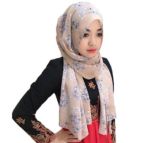 Feicuan Damen Islamischen Muslim Printed Turban Hijab Arabian Chiffon Veil Kopftuch (Headcover Turban)