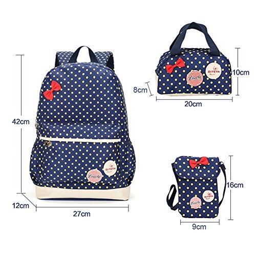 Imagen de bcony conjunto de 3 dot lindo las  escolares universidad/bolsas escolares/ niños niñas adolescentes + mini bolso + bolso crossbody,azul marino alternativa