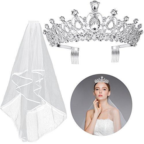 Frcolor Kristall Tiara Krone Strass Hochzeit Braut Tiara Stirnband, Braut Hochzeit Schleier mit Kamm enthalten (Prinzessin-braut Die Halloween)