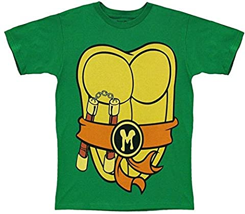 TMNT Teenage Mutant Ninja Turtles Michelangelo Costume Green T-shirt with Orange Eye Mask (Adult