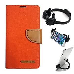Aart Fancy Wallet Dairy Jeans Flip Case Cover for Nokia620 (Orange) + Flexible Portable Mount Cradle Thumb OK Designed Stand Holder By Aart Store.