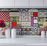 PARETE PATCHWORK PIASTRELLE IN CERAMICA DECORATE A MANO