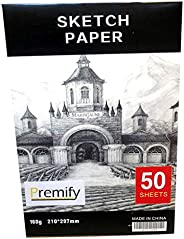 50/sheets A4 Sketch pad white thick papers 160gsm/90lb Artist Drawing Paper Acid Free, Ideal sketchbook for Ki