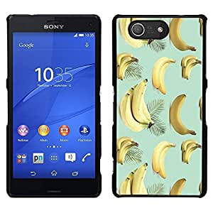 Rubber Gehäuse Hülle Schutz Case Cover Zubehör BY RAYDREAMMM - Sony Xperia Z3 Compact - Banana Teal Gelb Obst Muster Tropical