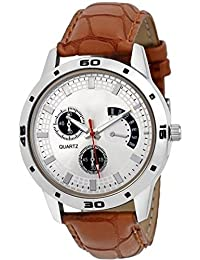 Shocknshop Analog Stylish White Dial Brown Watch For Mens & Boys (W89)