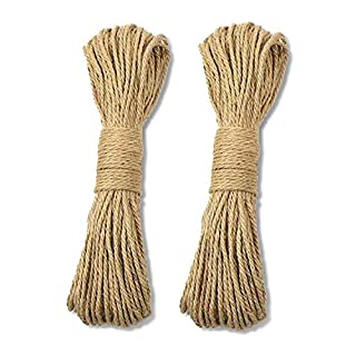 Jute Rope,100% Natural Strong Jute Rope 128 Feet 4mm Hemp Rope Cord for Arts Crafts DIY Decoration Tags Christmas Present Wrapping DIY Gift Packaging and Gardening by ICEBLUEOR