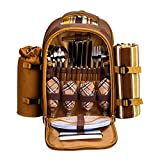 Apollowalker 4 Person Picnic Backpack Hamper Cooler Bag con juego de mesa y manta
