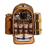 APOLLOWALKER 4 Person Picknick Rucksack Hamper Kühltasche mit Geschirr Set & Decke