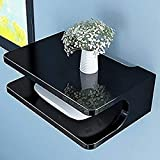 Onlineshoppee MDF Beautiful Design Set top Box Wall Shelf (Number of Shelves - 2, Black)