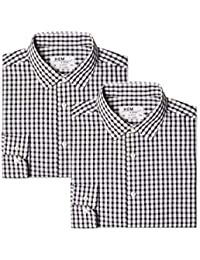Hem & Seam Men's Slim Fit Checked Formal Shirt, Pack of 2