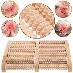 NALCY Double Rouleau Massage Pieds Bois • Masseur de Pieds Naturel et Écologique • Appareil de Réflexologie Plantaire pour le Soulagement des Pieds Favorise la Relaxation