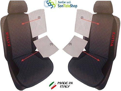 Paar von Rückenlehnen für Auto. Sitzbezüge universal Benutzerdefinierte mit Stickerei auf Draht: Willys TJ. rot