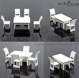 5er Set Modell Tisch (viereckig) Set mit 4 Stuhl für Modellbau 1:50, Modelleisenbahn Spur 0