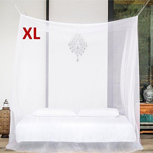 EVEN Naturals MOSKITONETZ extra groß für Doppelbett, Mückennetz Bett, Baldachin Bett, Rechteckiger Netzvorhang, Betthimmel Vorhang, Insektenschutz, Camping Netz mit zwei Öffnungen, einfache Anbringung & Tragetasche