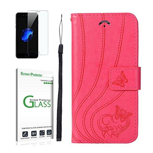 Galaxy S7 Edge Hülle [mit Panzerglas],Galaxy S7 Edge Handyhülle,Penlicraft Flip Cover PU Leder [Love Design] Liebes-Herz Schmetterlings Muster Aerodynamisches Design Handyhülle im Brieftasche-Stil mit [Aktualisierter TPU Innenschale] [Standfunktion] Schutzhülle Handyhüllen [Magnetverschluss] Etui Case für Samsung Galaxy S7 Edge mit schutzfolie (Rot)