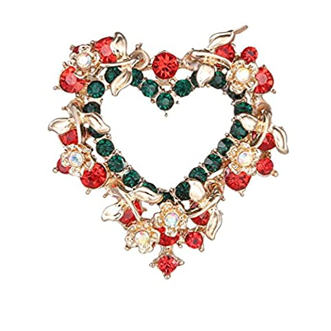 PMTIER Women's Chrismas Red Heart Shape Cubic Zirconia Diamond Brooches Pins