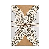 wishmade Hochzeit Einladungen Kits 20Stück, ivory Lace Laser Schnitt mit Handgefertigt Seil für Ehe Quinceanera Brautschmuck Geburtstag Karten