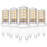 AGOTD 4W G9 LED Lampe, 400 Lumen, 2700k warmweiß Kein Flackern LED Leuchtmittel, Nicht Dimmbar 360 Grad Winkel, Ersatz 40W G9 Halogenlampe, 5er Pack