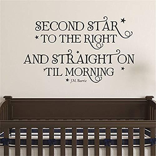Pegatinas De Pared Cita De Ditooms Neverland Segunda Estrella A La Pared Derecha Peter Pan Whimsical Nursery Decal Quote For Kids