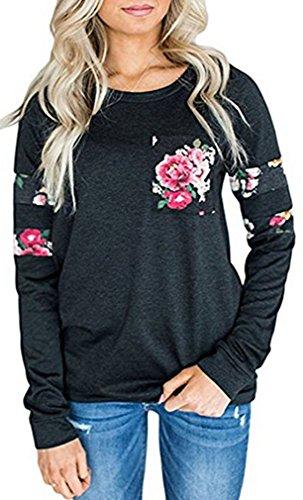 Leslady Damen beiläufige Langarm-T-Shirt Pullover Sweatshirt Kapuzenpullis Casual Blumen Bluse Oberteile Tops (Rote Shirts Blume)