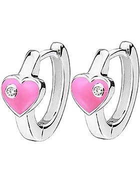 CLEVER SCHMUCK Silberne Kindercreolen mit Herz rosa und Steinchen weiß glänzend STERLING SILBER 925