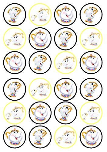 Mrs Potts & Chip Prinzessin Beauty & The Beast essbarem Premium Stärke Süße Vanille, Wafer Reispapier Cupcake Topper/Dekoration
