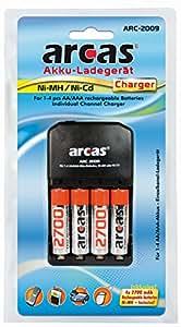 Arcas 20722009 ARC2009 Chargeur de batterie (incl. 4 x batterie NiMH, AA, AA, 2700 mAh)