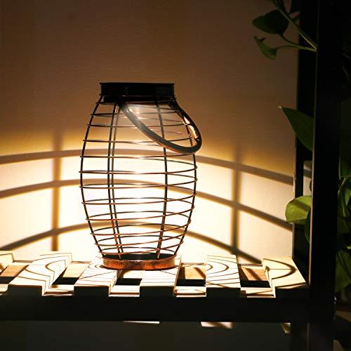 Lanterna Solare Esterno, Tencoz Luci Solare Lanterna Marrone LED Solari da Giardino Solare Lampada IP44 Impermeabile Illuminazione Esterno Lanterne per Feste, Cortile, Passerella-13,1 x 13,6 x 20,5 cm