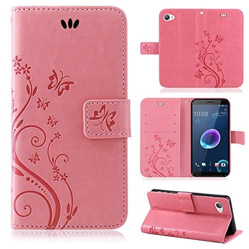 betterfon | Flower Case Handytasche Schutzhülle Blumen Klapptasche Handyhülle Handy Schale für HTC Desire 12 Rosa