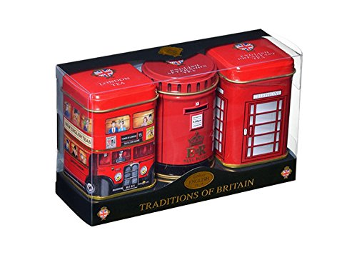 New English Teas Traditions of Britain Mini Tins Gift Pack Loose Tea 70 g (1 Gift Pack - 3 Mini Tins)