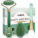Jade Roller, Gesichtsroller Gesichtmassagegerät Hautpflege Werkzeug Natürliche Echte Jade Ficial Roller Face Roller mit Gua Sha Schaber und Maskenpinsel