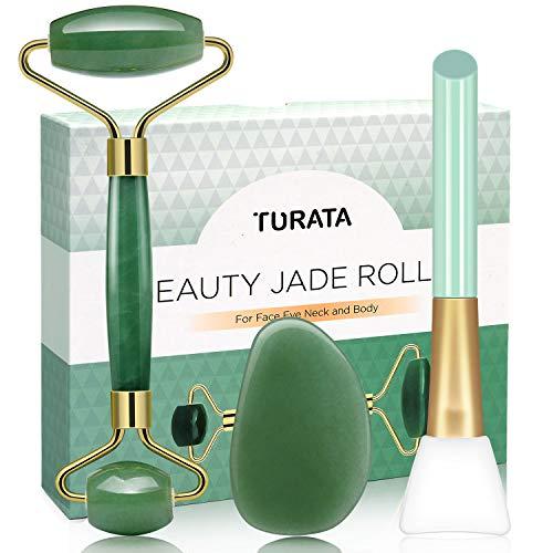 Rodillo de Jade, TURATA Facial Masaje Piedra Gua Sha Jade,...
