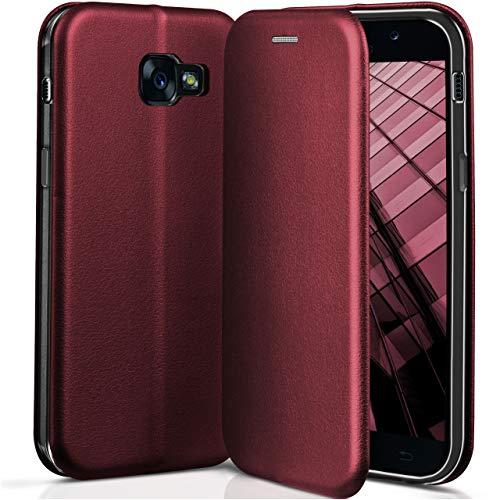 ONEFLOW Samsung Galaxy A5 (2017) | Hülle Dunkel-Rot mit Karten-Fach 360° Business Klapp-Hülle Handytasche Kunst-Leder Handyhülle für Samsung Galaxy A5 2017 Flip Case Cover Tasche Schutzhülle