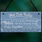 RED OCEAN Hot Tub Rules Novelty Hanging Garden Shed Plaque Jacuzzi Pool Funny Gift Home Decor Sign