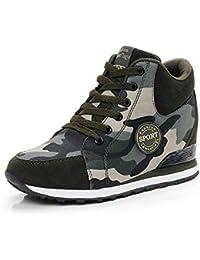 de La Mujer Camuflaje Zapatillas de Tacón Alto Ejército Verde Aumentar La Altura Zapatos 6.5cm Mujer Botas Cuñas