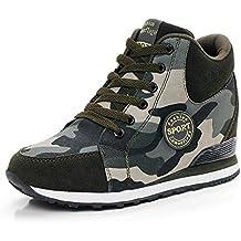 de La Mujer Camuflaje Zapatillas de Tacón Alto Ejército Verde Aumentar La Altura Zapatos 6.5cm