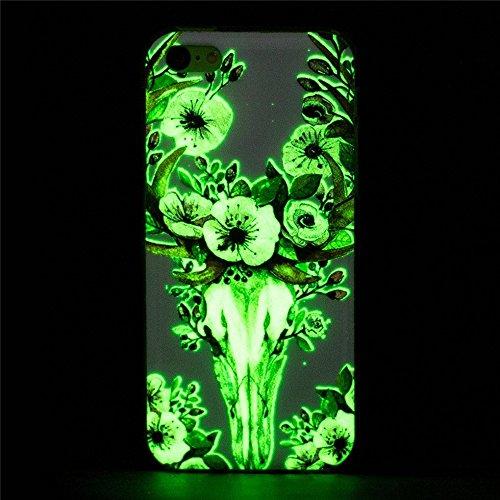 Apple iPhone 5C Hülle, SATURCASE Schönes Muster Leuchtend Fluoreszierend Ultra Dünn Weich TPU Gel Silikon Schützend Zurück Case Cover Handy Tasche Schutzhülle Handyhülle Hülle für Apple iPhone 5C (Mus Muster-5