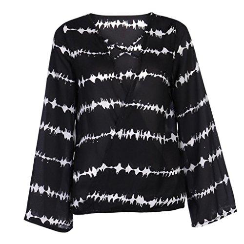 HUI.HUI Femmes Chemisier Casual Mousseline Chemise Dames Sexy Blouse Bande Longue T-Shirt Tops à Manches Longues Col V Chic Shirt Noir