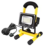 Ustellar 20W LED Work Light (150W Equivalent) 1600lm, 5m Wire with Plug, IP65 Waterproof 360° Site Light, Outdoor Stand Detachable Floodlight for Industrial Workshop Construction Site, 6000K Daylight