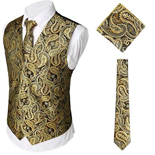 QinMM 3 Stücke Herren Party Hochzeit Weste Weste Einstecktuch Krawatte Anzug Set Hochzeit Bräutigam V-Ausschnitt Gold S-XXXL