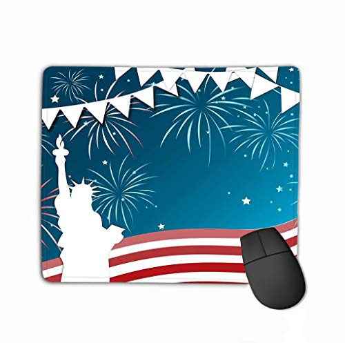 Mouse Pad 4th July Celebration Frame 4th July Design usa Flag Freedom Memorial American Independence Day Rectangle Rubber Mousepad 11.81 X 9.84 Inch