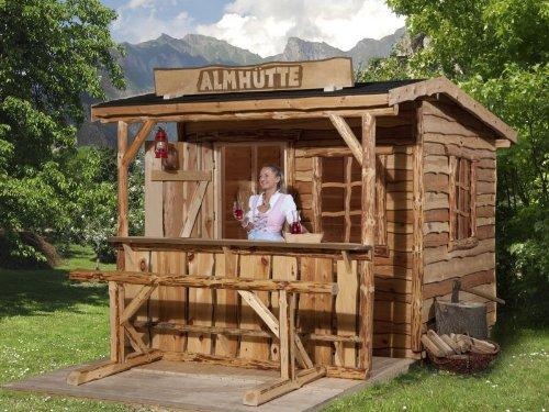 Uriges Kleines Gartenhaus mit Veranda und Schild - Innenmaß 250 x 300 cm - 100 cm Vordach - Außenmaß 348 x 368cm