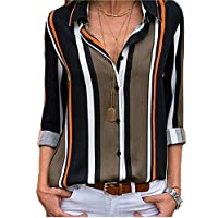 Striped 3 4 Roll Sleeve Button Down Shirts for Women Loose Casual V-Neck Color Block Blouse Tops Tunic Shirts for Ladies Black Brown L