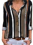 ASKSA Damen Langarm Bluse V-Ausschnitt Oberteile Elegant Gestreift Knopf Hemdbluse Tunika Tops S-XXL (Schwarz, XX-Large)