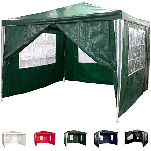 Pavillon 3x3m WASSERDICHT + 4 Seitenteile (3x mit Fenster + 1x mit Reißverschluss), Farbwahl: weiß blau grün rot schwarz, inkl. Heringe + Spannseile