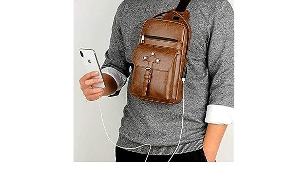 Color : Khaki MUMUWU Sizing: S Outside Bag 26cm x 17cm x 5.5cm Universal Fashion Superficial Outside Men Shoulder Messenger Bags Retro Men Waist Bag with Charging Port